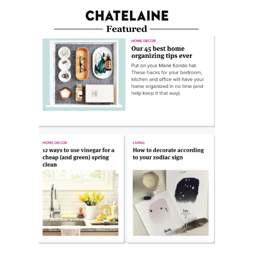 Our Zodiac pieces are featured on Chatelaine post about How to Decorate according to your Zodiac sign.  Click  here  to read the article.