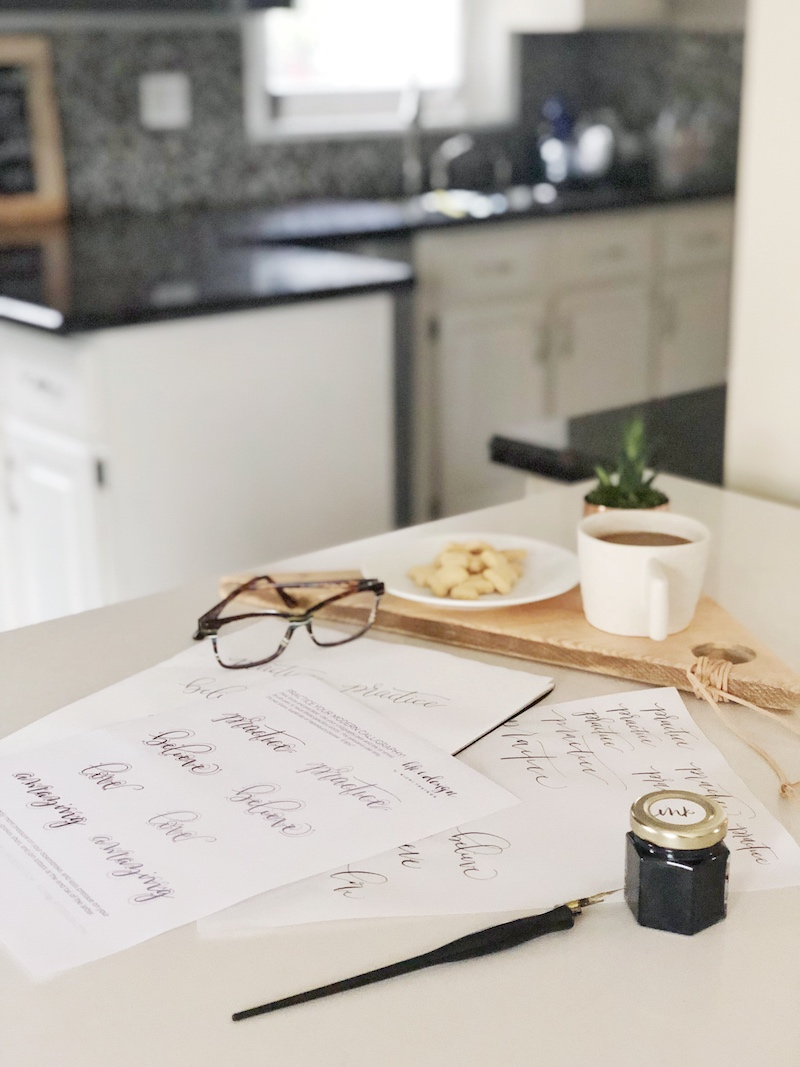 Practice tracing words in calligraphy while you enjoy a cup of tea or coffee in the comfort of your own home.