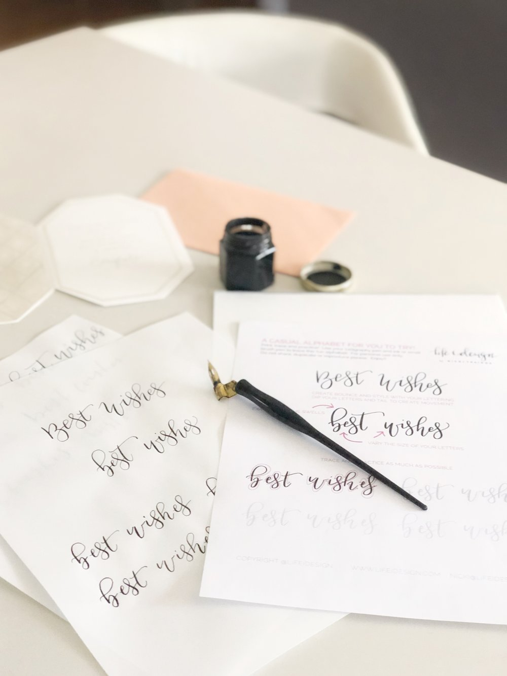 "Free calligraphy practice sheet to help you write ""best wishes""."