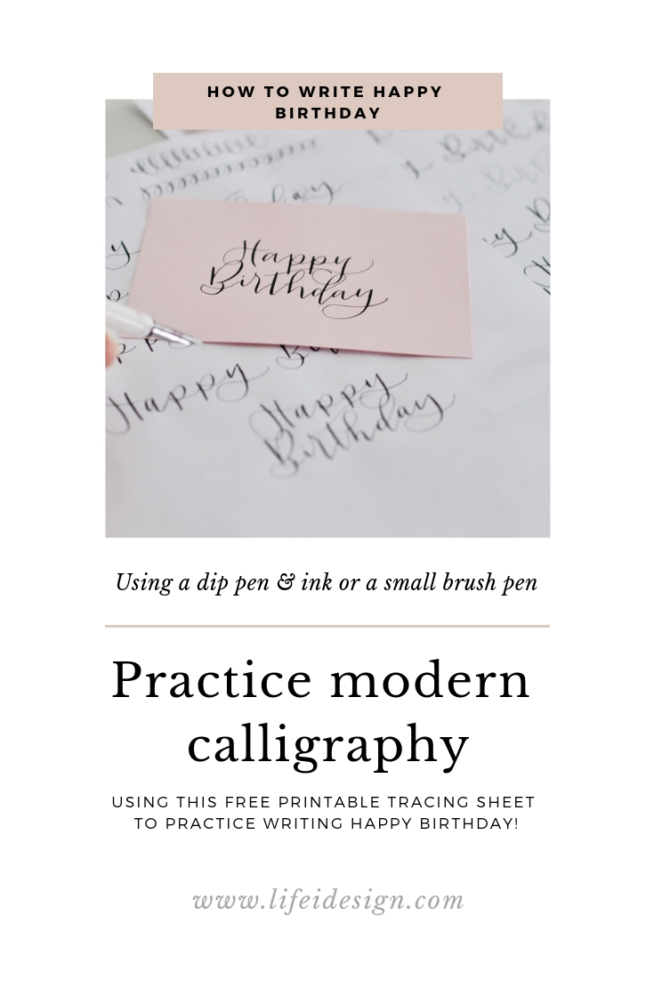 "Learn and practice how to write ""Happy Birthday"" with this free practice sheet and impress your friends and family with your beautiful calligraphy!"