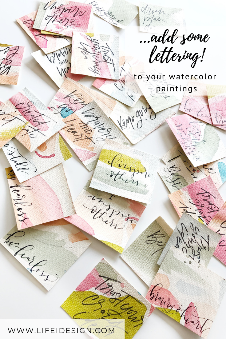 Add some lettering to your abstract watercolor minis too!
