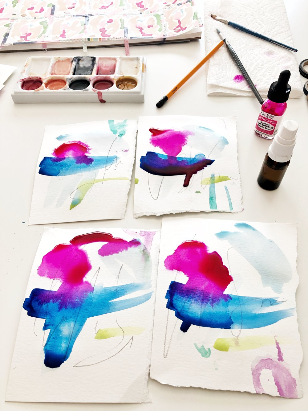Intuitive, playful abstract watercolor paintings.