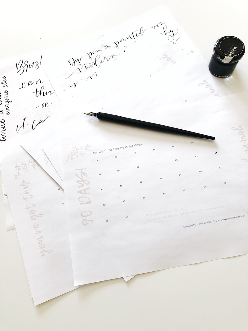Learn calligraphy in 90 days and use this simple template to help you keep track of your progress.