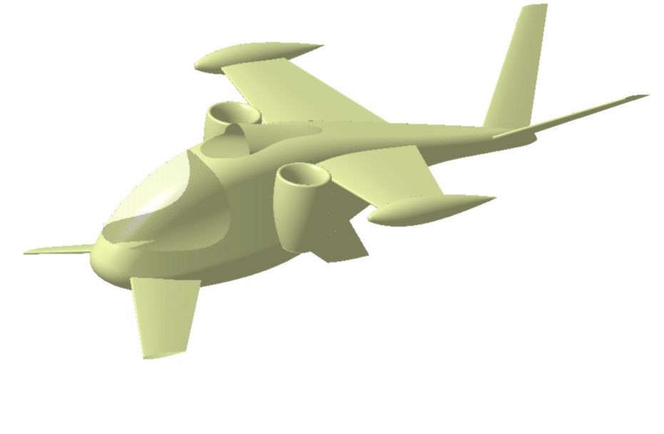 A model of a personal transportation vehicle before the skin texture was rendered.