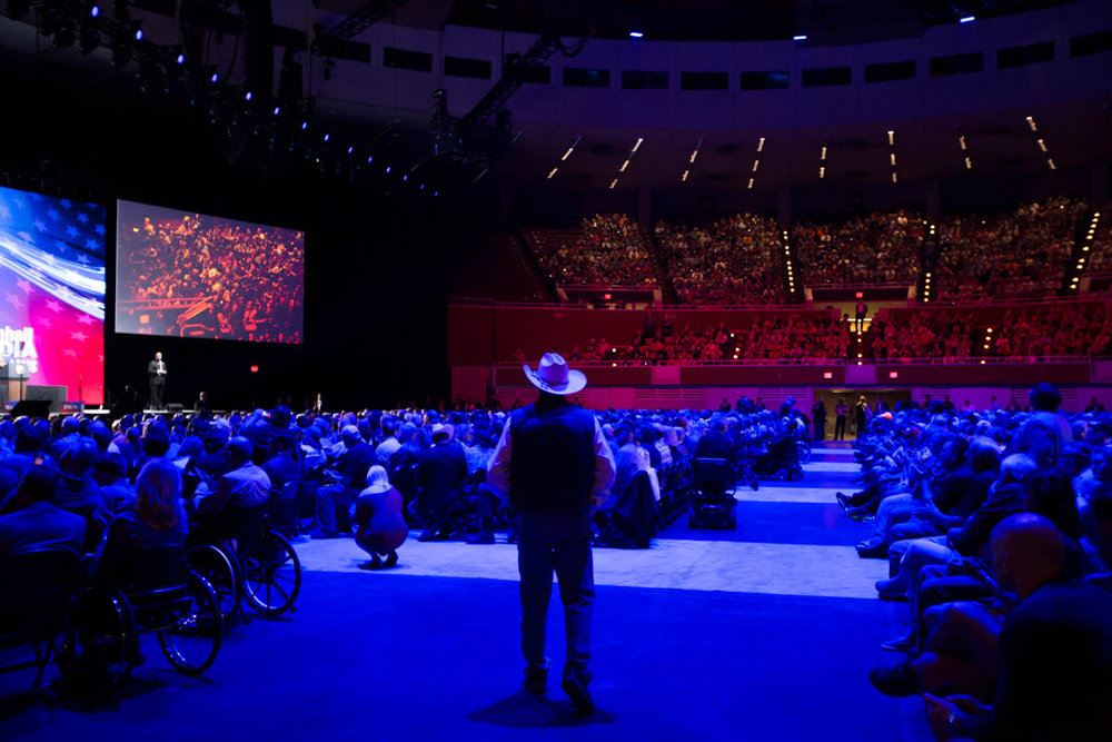 The audience at the National Rifle Association's 2018 Leadership Forum awaits the arrival of President Trump on May 4, 2018.