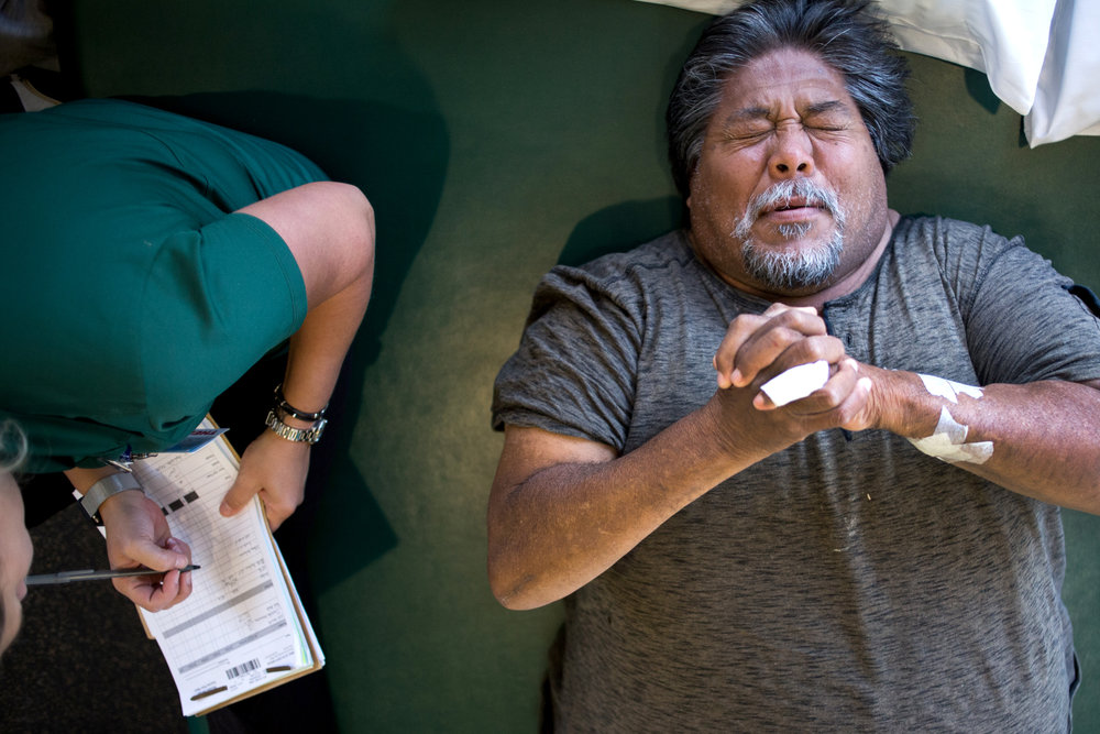 Richard Mata, 54, attends weekly physical therapy appointments to strengthen the muscles in his legs after an accident left him paralyzed from the waist down.