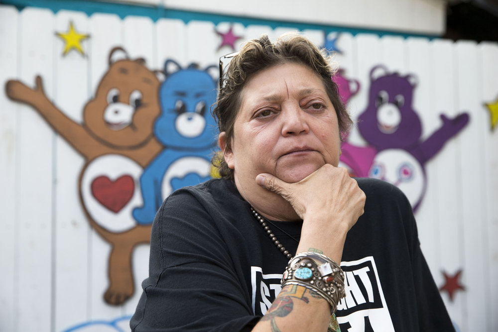 """Comfort Cafe co-founder Rosalinda Lopez hangs out in the back patio of at the donation-based, nonprofit cafe in Smithville, Texas, on Friday, Nov. 30, 2018. The cafe is staffed by individuals recovering from substance abuse at the nearby SerenityStar Recovery center. """"It's peer-to-peer, one addict helping another,"""" Lopez said. """"We teach that sobriety is not about getting it, it's about keeping it."""""""