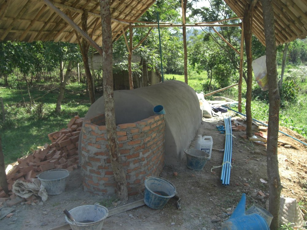 Clay and brick biogas fermentor built at SAELAO sustainable community near Vang Vieng, Laos