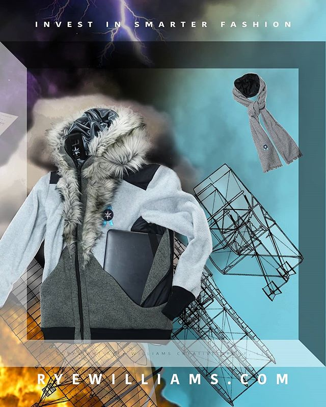 SWIPE + Invest in smarter fashion @rye.williams R Y E W I L L I A M S .C O M  Tech Climber - Fashioned by RYE + WILLIAMS CREATIVE GROUP  13in laptop, 1L water bottle, Scarves, Neck Pillow... it all fits.