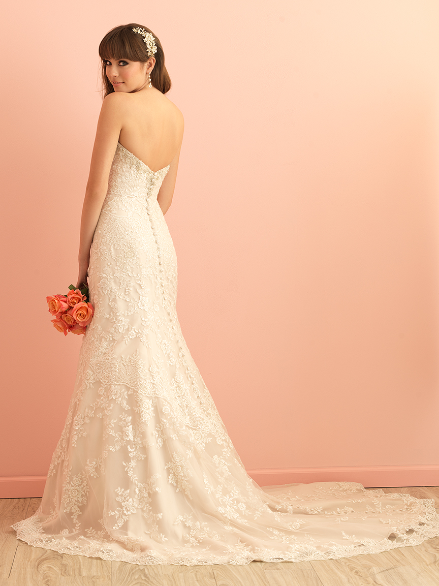 Allure Romance Collection Lace Fit and Flare Lace Wedding Gown style 2850