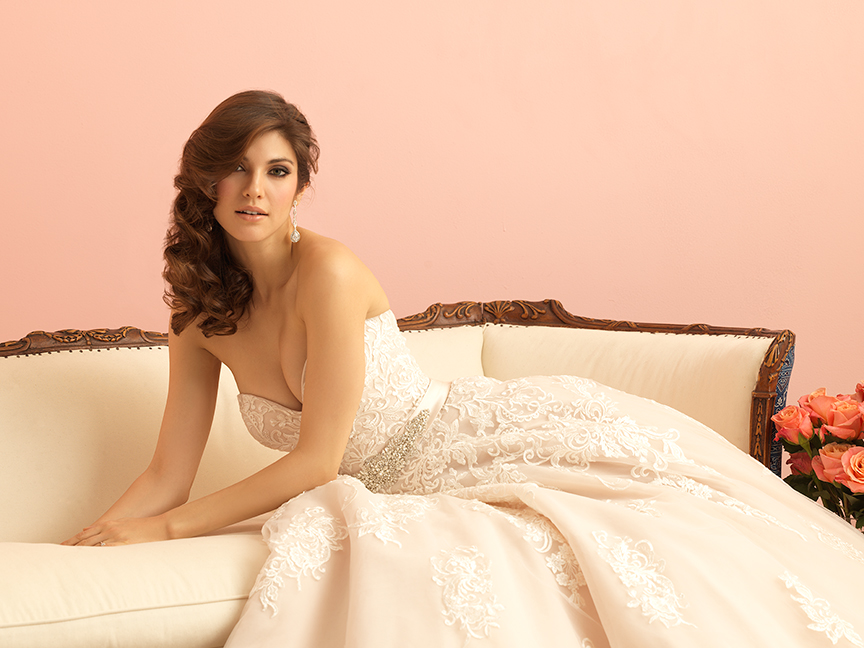 Allure Romance Collection A-Line Lace Wedding Gown style 2858
