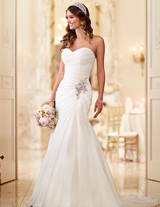 Stella York Fit and Flare Organza Wedding Gown Style 6015