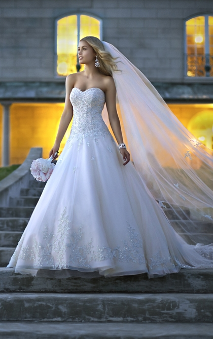 Stella York A-Line Tulle and Lace Wedding Gown Style 5833