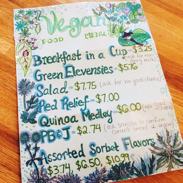 Kaleidoscope Coffee Vegan Menu