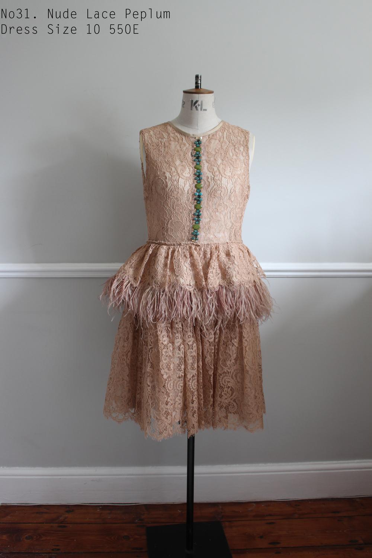 No31. Nude Lace Peplum Dress Size 10 550E.jpg