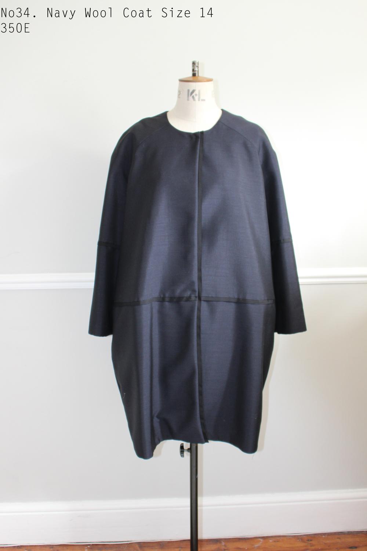 No34. Navy Wool Coat Size 14 350E .jpg