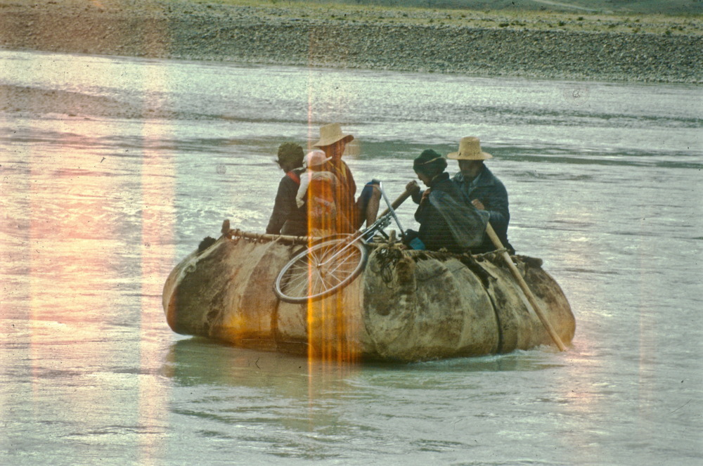 Tibetans in a yak skin boat. I'm in one as well, following them.