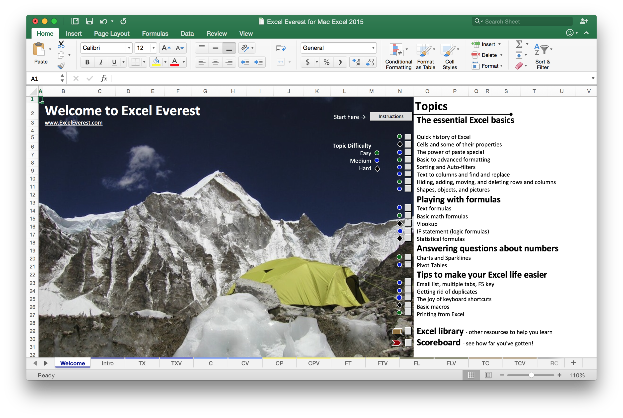 The entire tutorial is written inside Excel itself. This allows an incredible amount of innovation. As you go through Excel Everest, you'll learn by first reading about how to do something, and then immediately being able to give it a go yourself. Everyone knows that learning by doing is the best way to become proficient in a tool. Now you can do so with Excel.