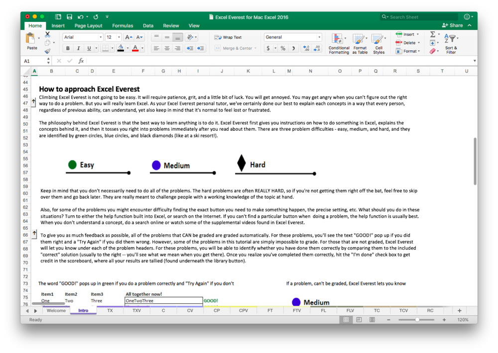 Step 2 - Get Aquainted - Learning to use Excel Everest is simple. The home page has all of the topic areas, and inside the Excel course you'll find hundreds of embedded exercises, categorized as either Easy, Medium, or Hard.
