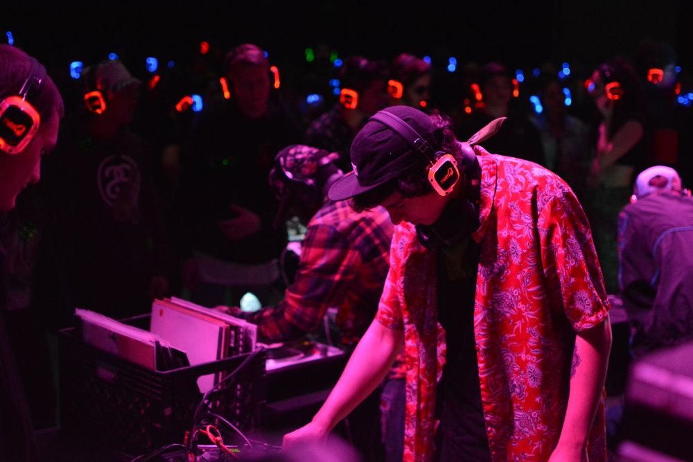 Alec Lobato DJing at AMG's Inaugural Silent Disco