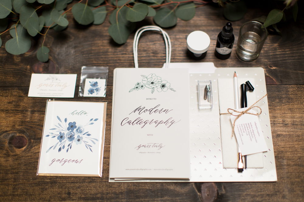 Modern calligraphy workshop at cc vintage rentals u2014 by priscilla lee