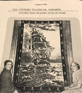 Aunt Janet and Sari Hoffman, my grandmother, with her Gobelin tapestry, Old Ironsides.