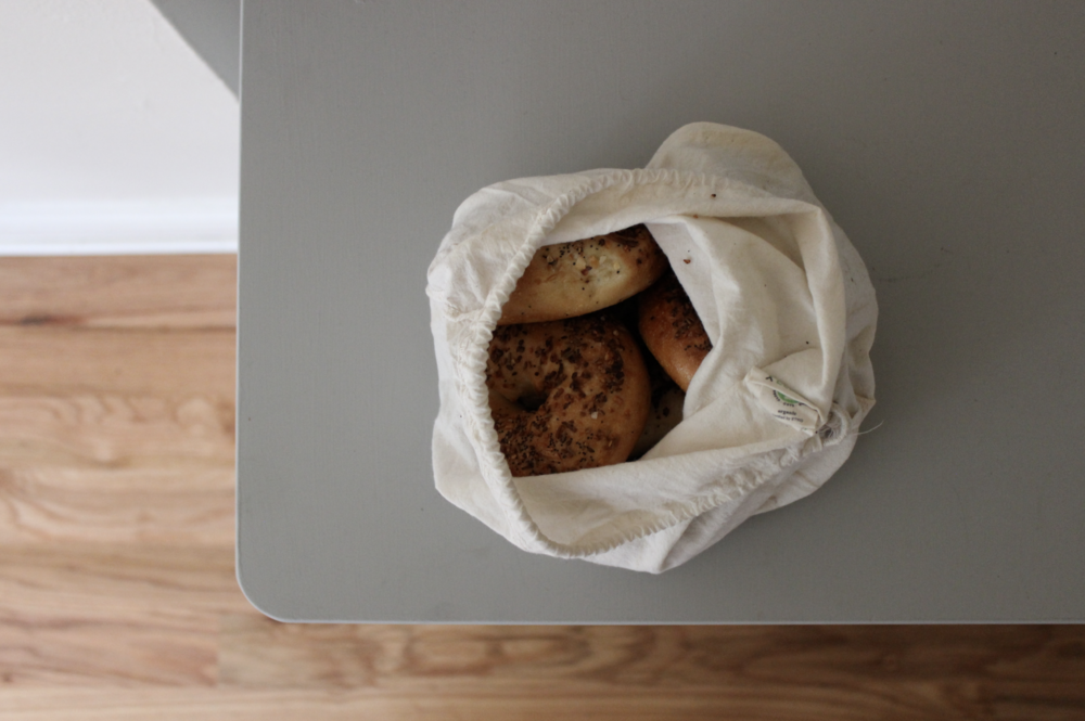Bagels in a cloth bag