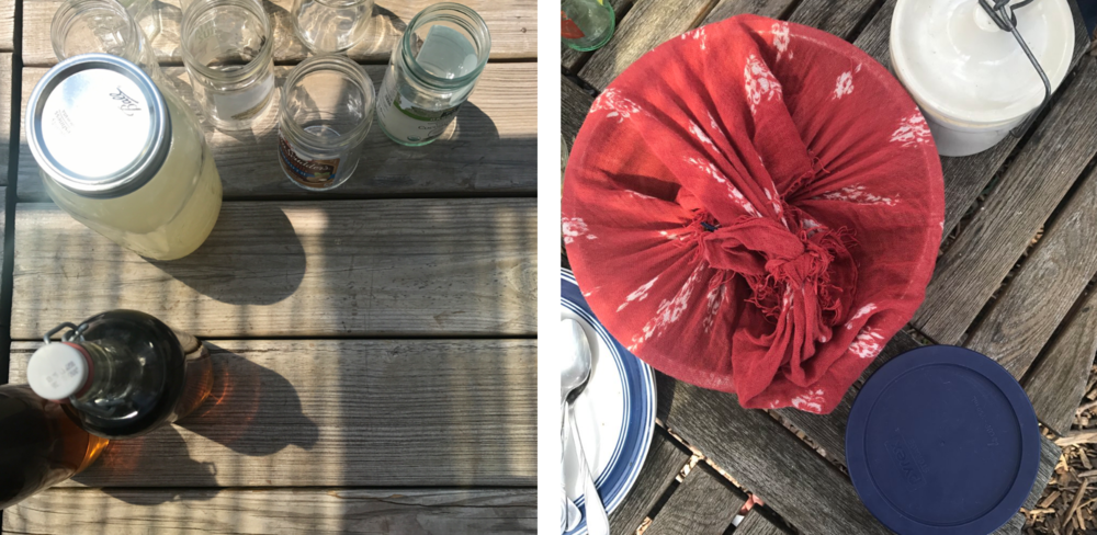 Zero waste picnic with a furoshiki and mason jar