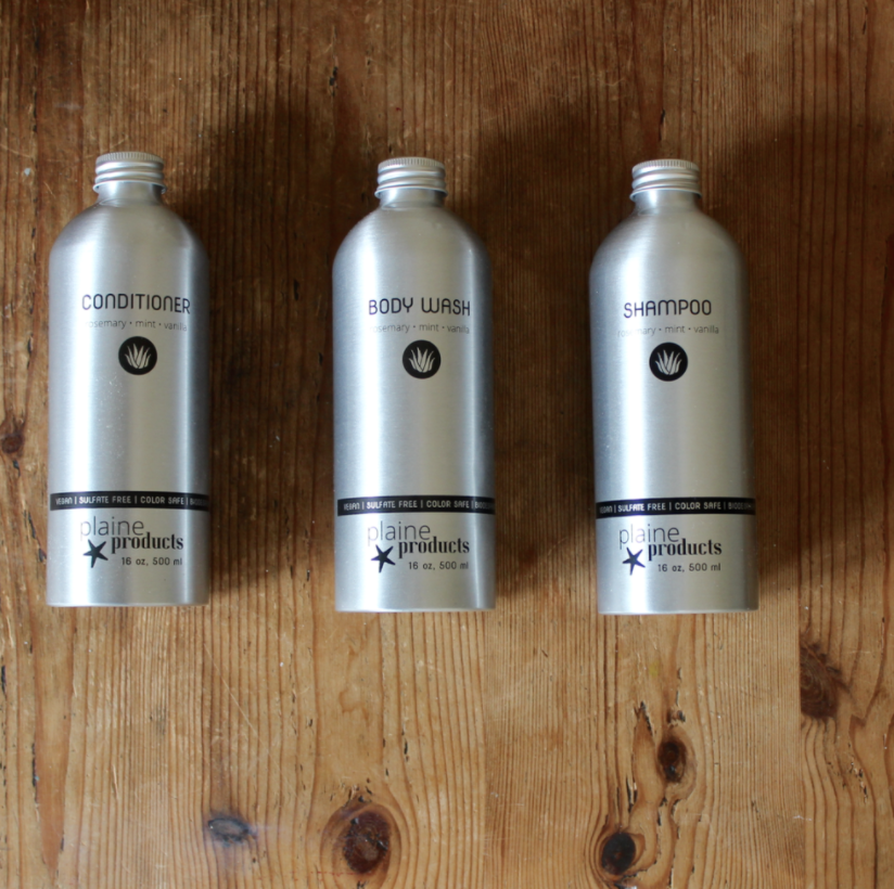Plaine Products refillable shampoo, conditioner, and body wash | Litterless