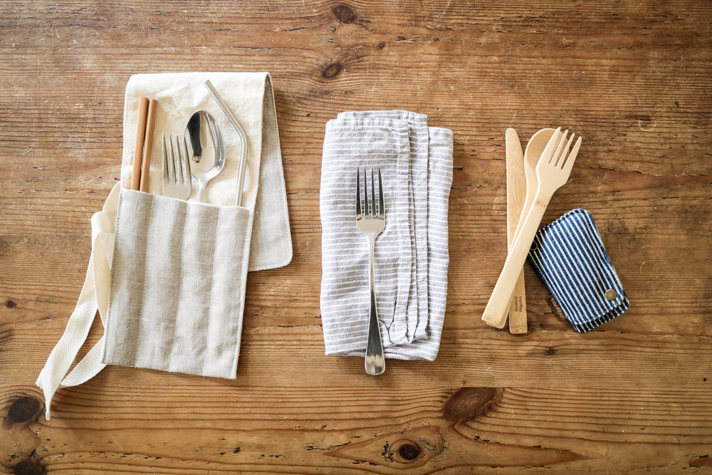 How to go zero waste without buying anything new: make your own utensil wrap from things you already own | Litterless