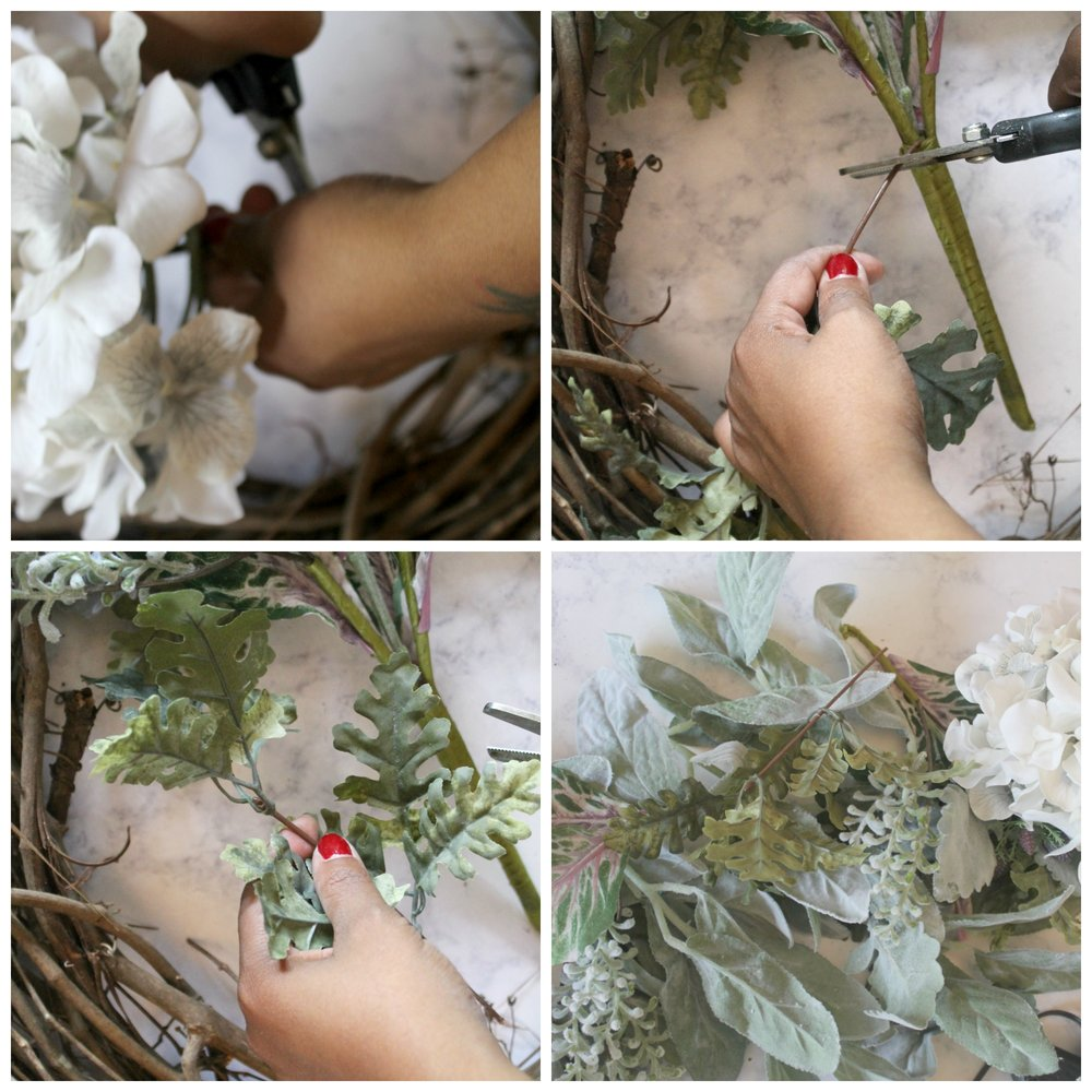 Start by removing everything form the stems.  I used floral clippers but you can use wire cutters or scissors. I wired the larger blooms to wreath with a thin gauge wire. After wiring I went back in with the hot glue gun to make sure all of the blooms and greens were firmly attached.