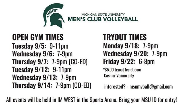 In case you missed us yesterday, here's the times for open gyms and tryouts. See you there!!!