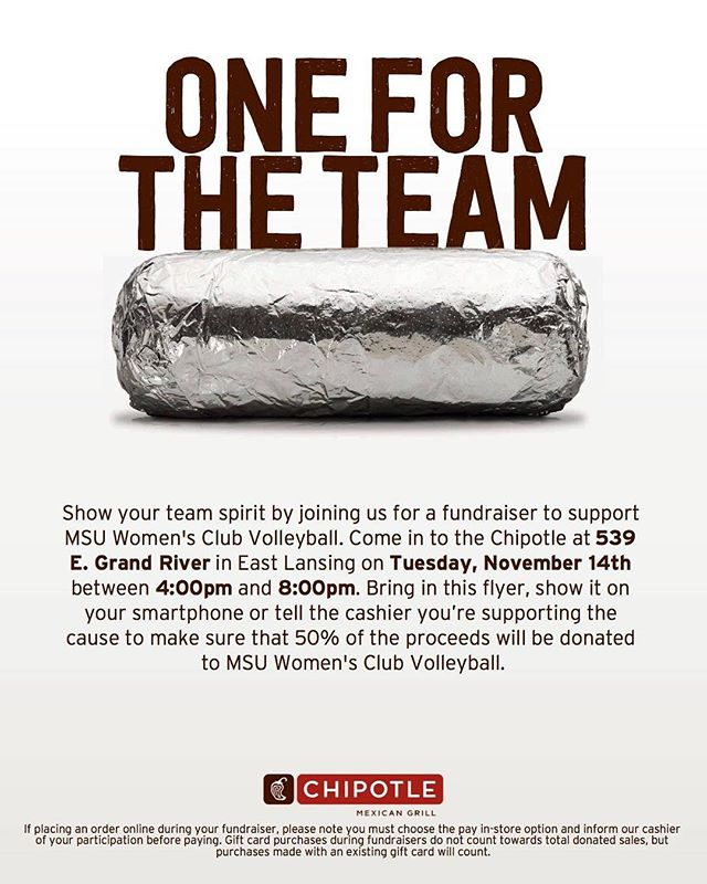 Support our women's club by grabbing some Chipotle (Grand River location) for dinner and showing them this flyer! Hurry, it ends at 8pm!! #ad #MSUvolleyball