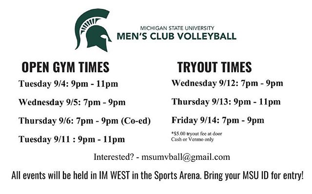 In case you missed us in Sparticipation, here's the times for tryouts and open gyms. Be there or be square 🔥🏐