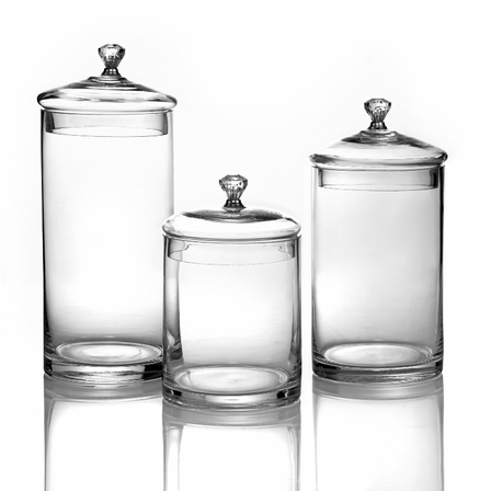 GLASS CANISTERS WITH KNOBS