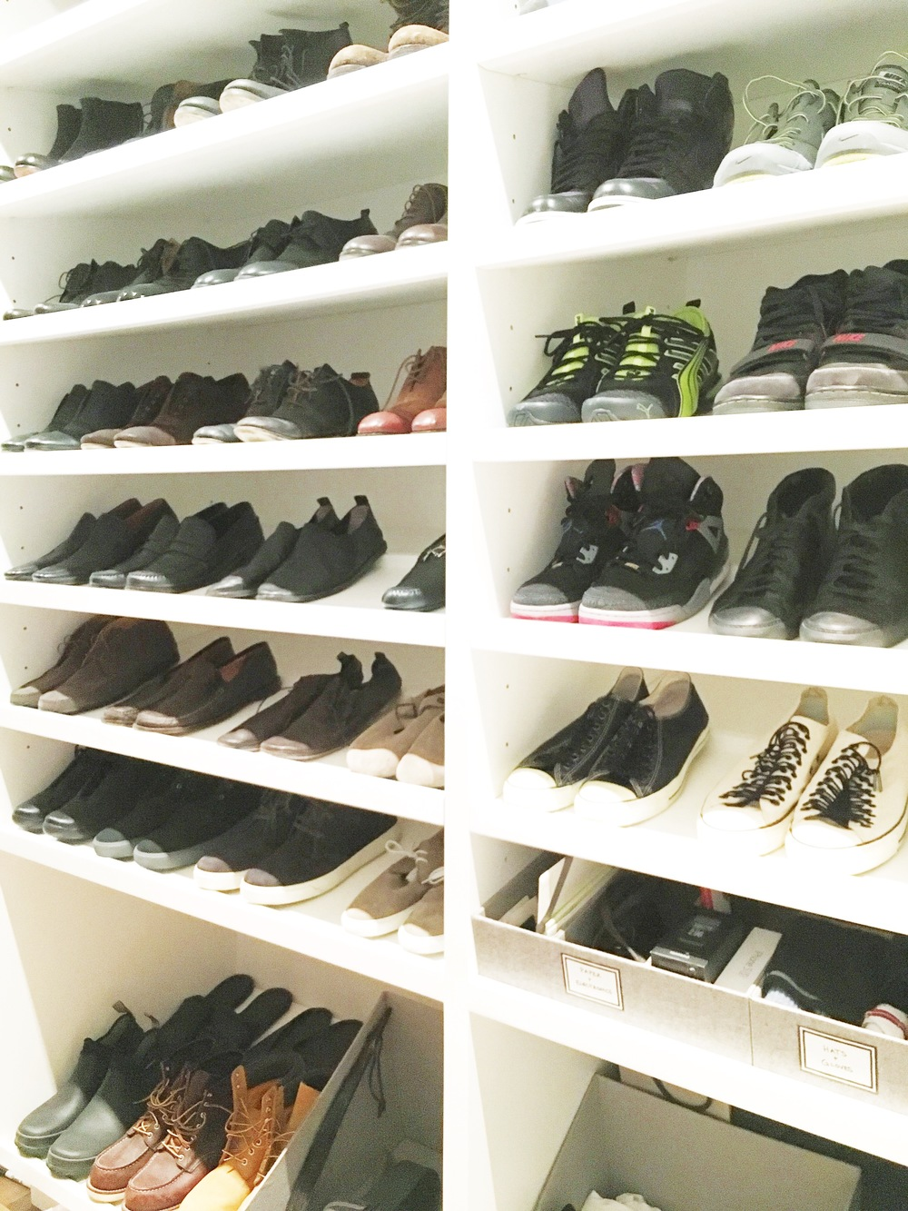 Shoes organized by type and color. Linen storage bins for accessories, hats, and gloves.
