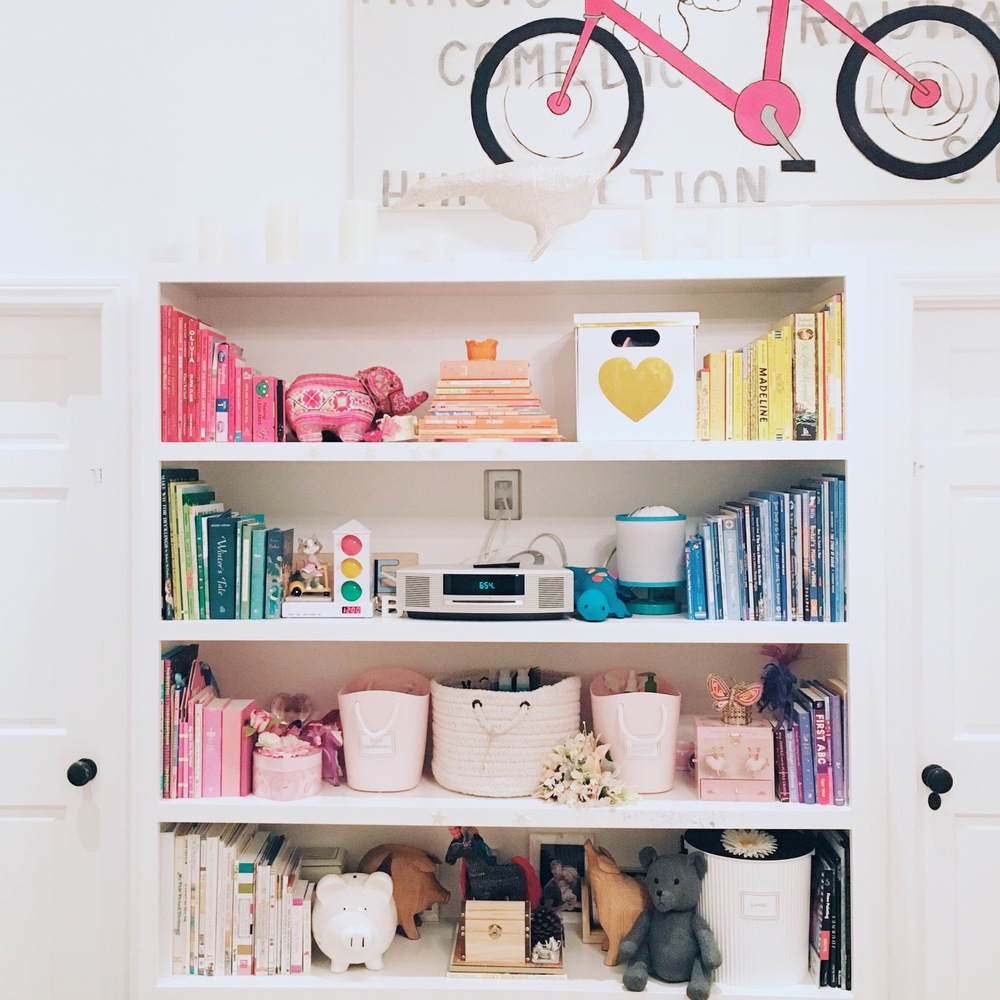 Bookcase filled with color-coordinated storage.