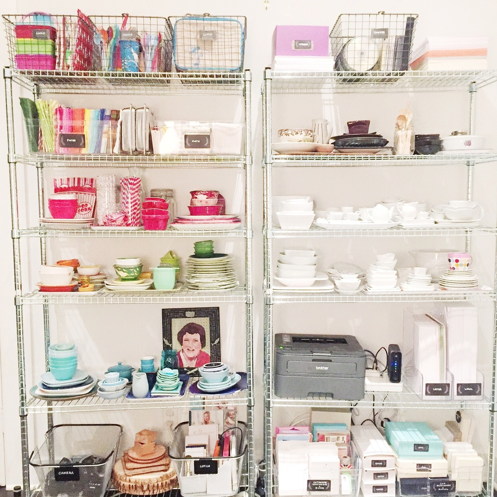 The office shelves with props, supplies, and stationary sets.