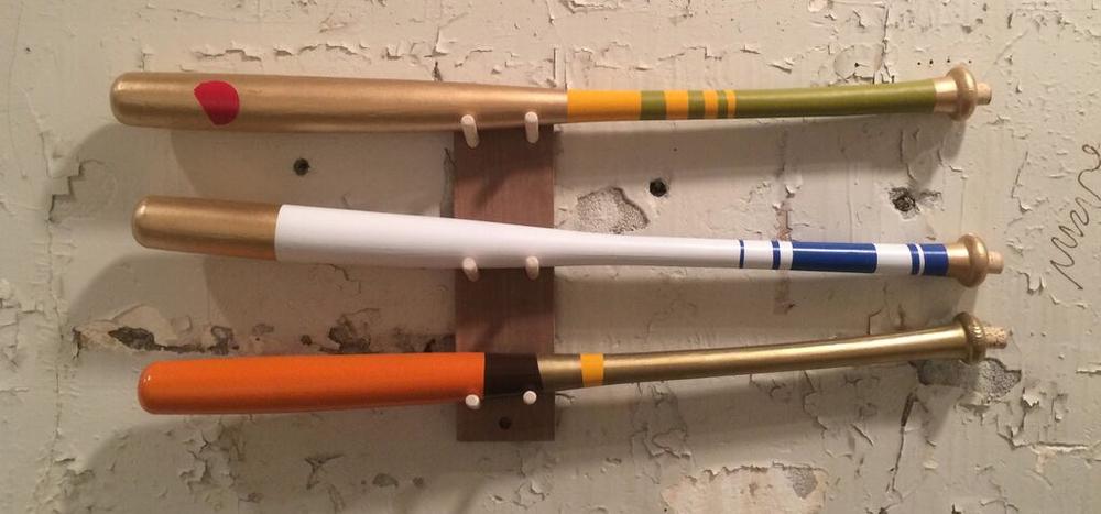 Bat Series Group, 2015, earthenware, 31 x 3 x 3 inches each