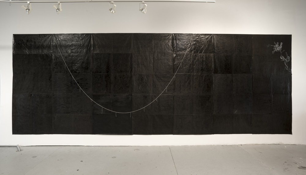 Oil Spill, Chapter 2, Excerpt From a Novel, 2015, mixed media on tyvek and freshwater pearls, 135 x 315 inches