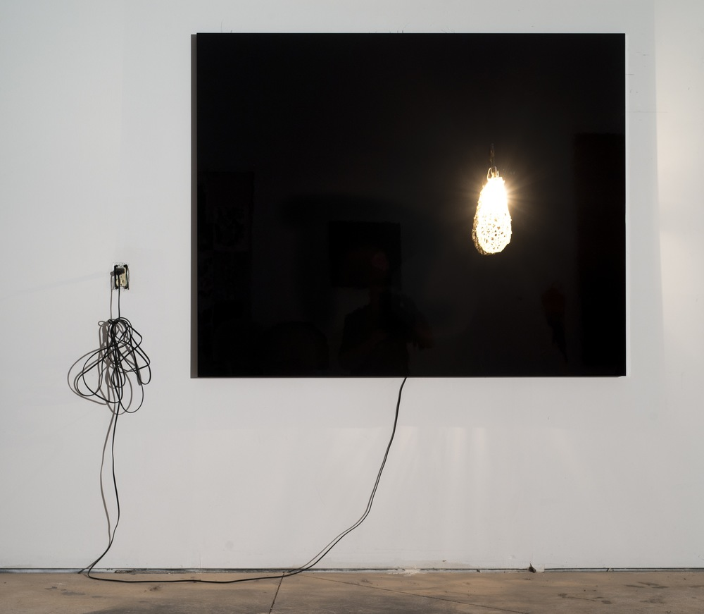 Self Portrait with Papaya, Chapter I, Excerpt From a Novel, 2013, dibond, car paint, cable, light bulb and fresh water pearls, 4 x 6 feet