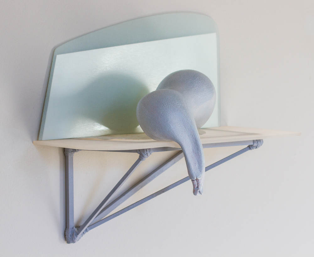 "Qwist Joseph, mirror back, 2014 earthenware, glass, wood, string, 13"" x 14"" x 9"""