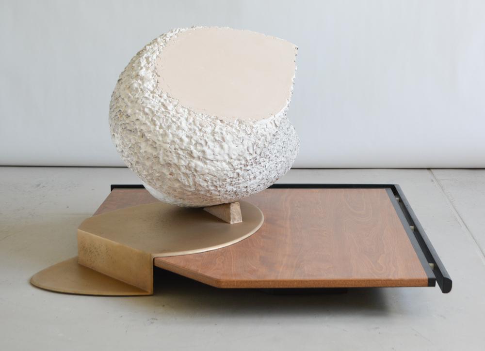 Qwist Joseph,  heavy shadow  , 2015,earthenware, bronze, wood, plastic, 28  x 40  x 40 in.
