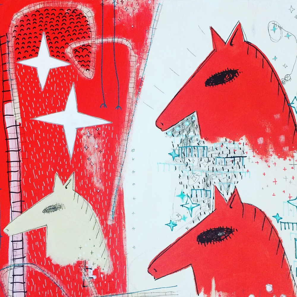 Sarah Rowe, The 3 Horses, 2015, mixed media on birch, 10 x 10 in.
