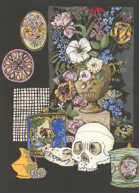 Still Life with Skulls, Dutch Floral and Tins.jpeg