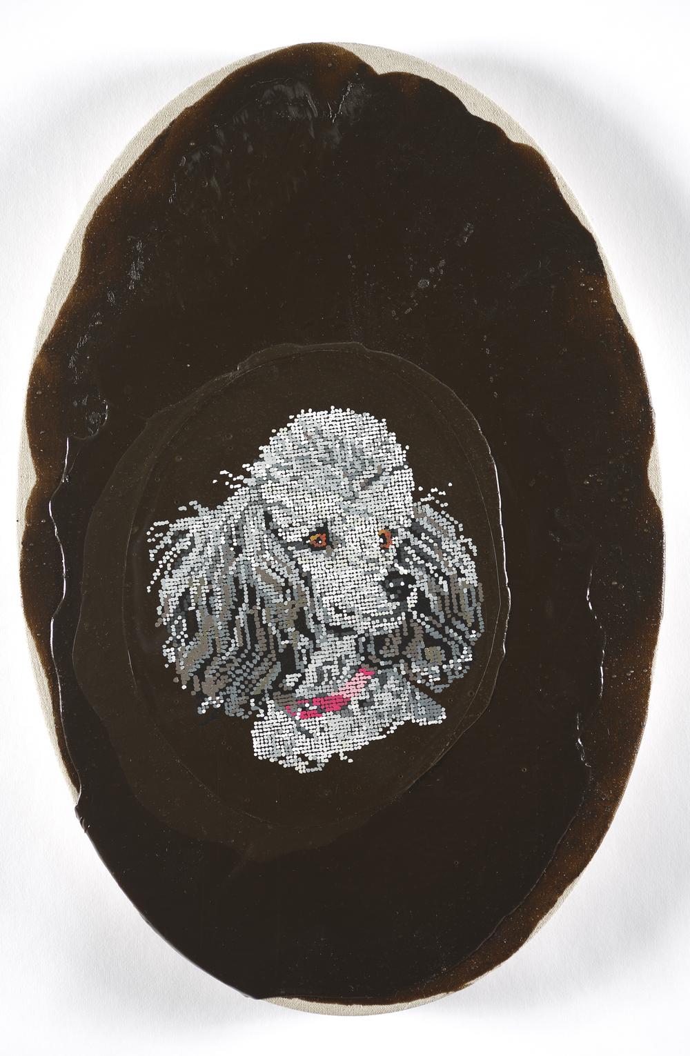 Kirstin Lamb Poodle Drama 2015 Gouache on Duralar with Acrylic on Linen 10 x 20 in oval.jpeg