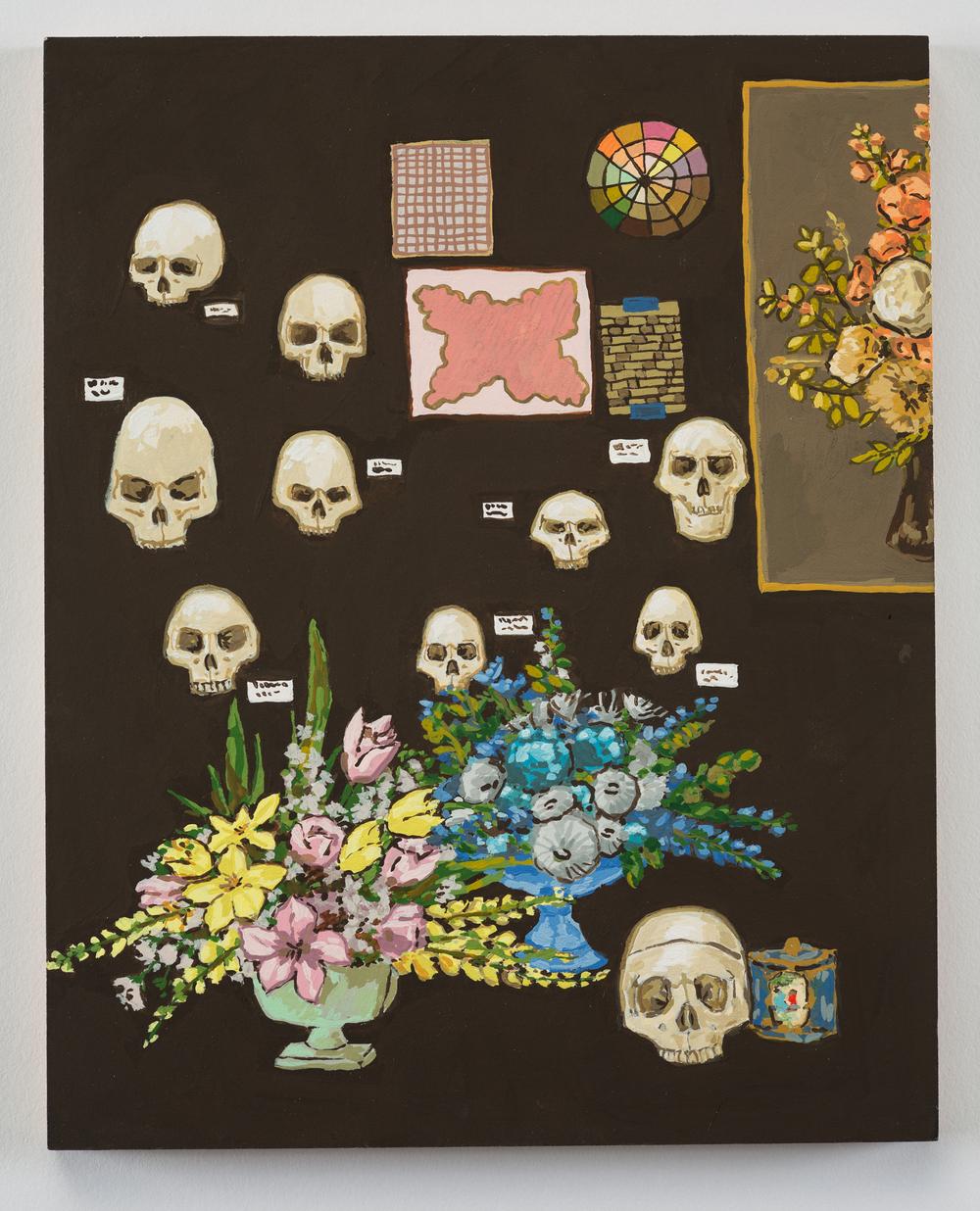 Kirstin Lamb Skulls and Arrangements 2016 Gouache on Paper on Board 8 x 10in.jpg