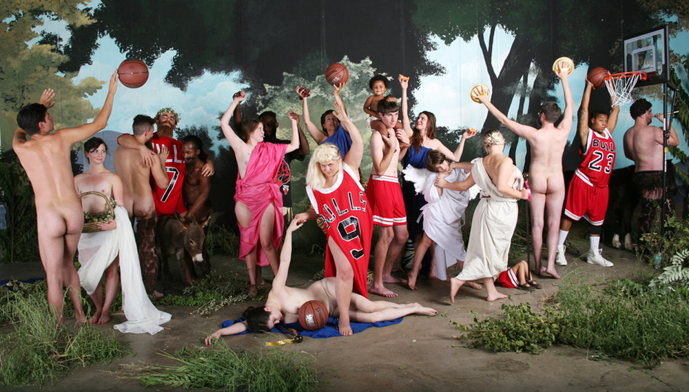 Self-portrait as Bulls fan in La Jeunesse de Bacchus by William-Adolphe Bouguereau/Michael Jordan basketball painting by dosysod of the Independents