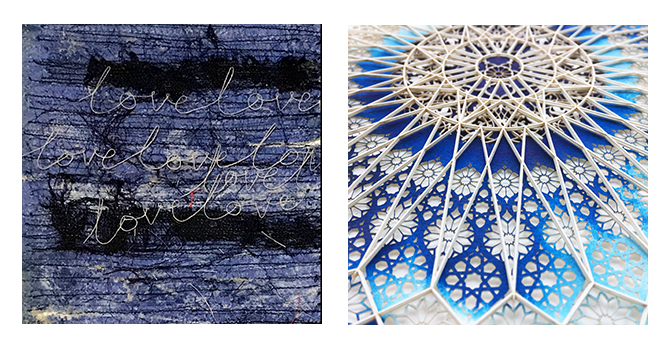 left:  Camille Hawbaker,  December 15th, 2016 , detail, 2017, thread, paper, ink, ash  right: Julia Ibbini,  Azraq fades (Circle Studies) , 2017, mixed media
