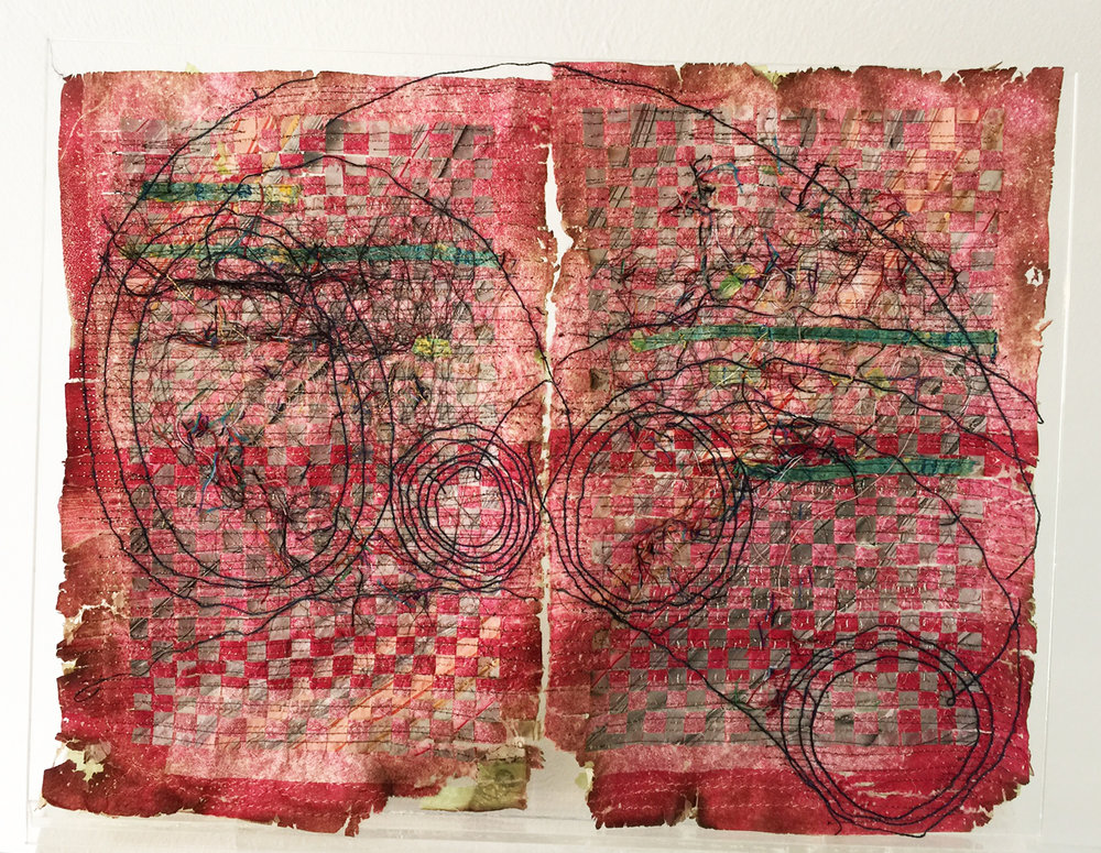 Camille Hawbaker,  June 5th, 2017 , 2017, thread, paper, ink, ash, 9 x 11 inches, photo courtesy of the artist